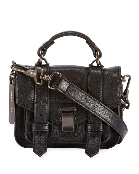 PS1 Micro Lux Leather Crossbody Bag, Black