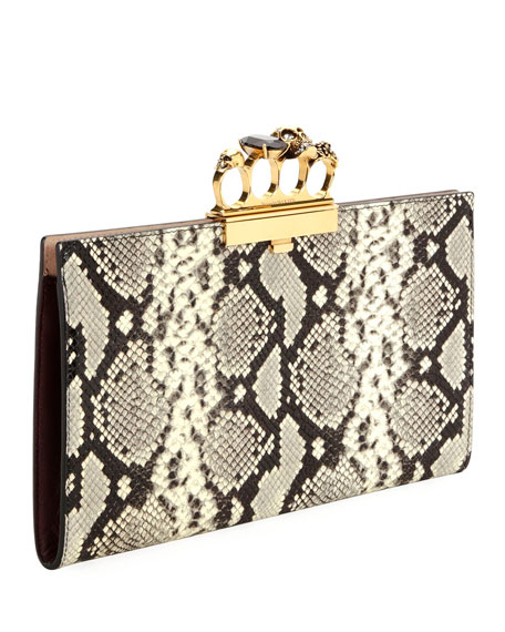 Skull Four-Ring Snake-Embossed Flat Pouch Clutch Bag