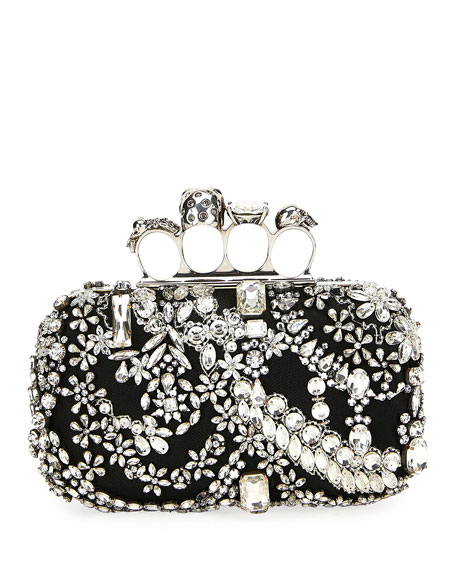 Four-Ring Jeweled Skull Clutch Bag