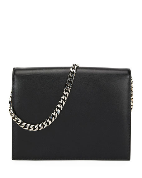 Pin Two-Tone Leather Shoulder Bag