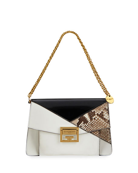 GV3 Small Leather and Snakeskin Patchwork Crossbody Bag
