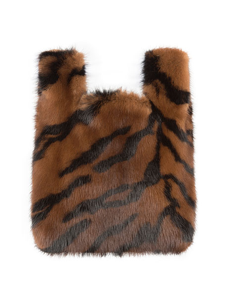 Image 1 of 1: Furrissima Baby Tiger-Stripe Mink Fur Tote Bag