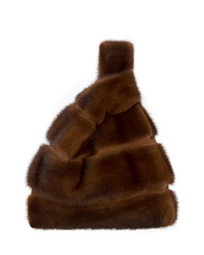Furrissima FD Mink Fur Striped Tote Bag