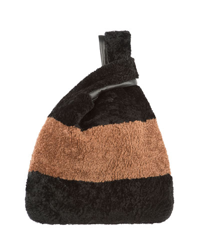 Furrissima Striped Shearling Fur Tote Bag
