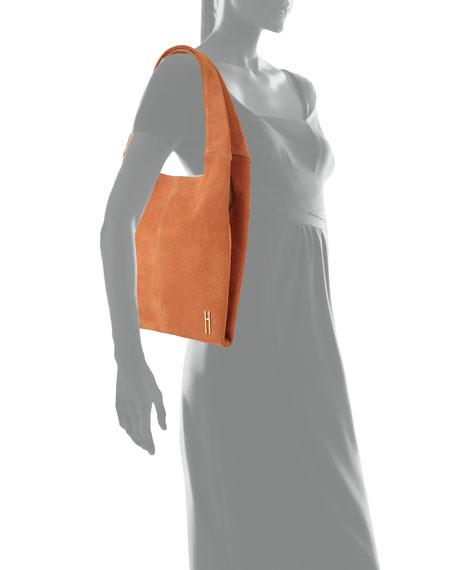 Medium Grand Suede Shopper Tote Bag, Orange