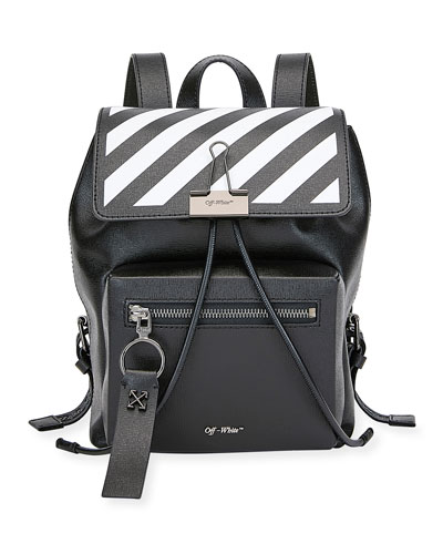 Diagonal Leather Binder Backpack