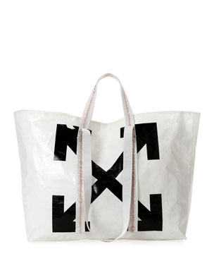 Off-White New Commercial Tote Bag, White/Black