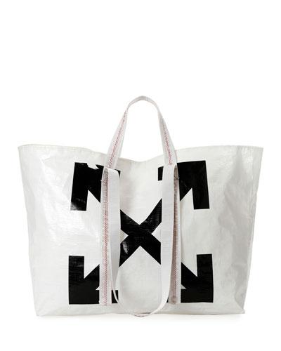 New Commercial Tote Bag, White/Black