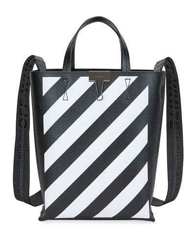 Diagonal Leather Tote Bag