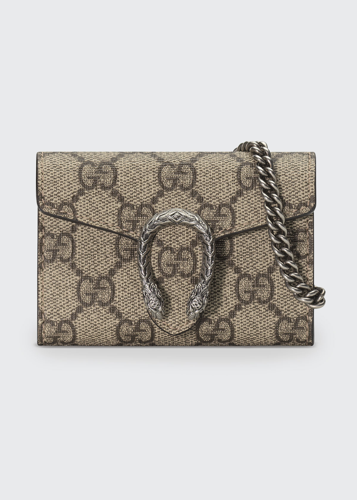 Dionysus Gg Supreme Canvas Coin Purse On A Chain , Beige in 8642 Bebony/Ta
