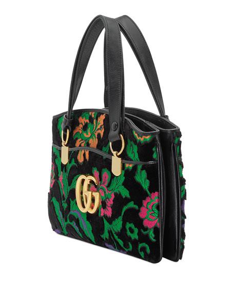 Arli Medium Velvet Top-Handle Bag