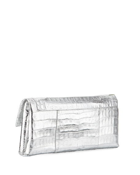Gotham Crocodile Flap Clutch Bag