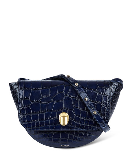 Billy Crocodile-Embossed Crossbody Bag