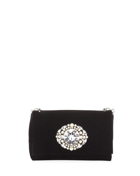 Thea Velvet Pearl Jewel Crossbody Bag, Black