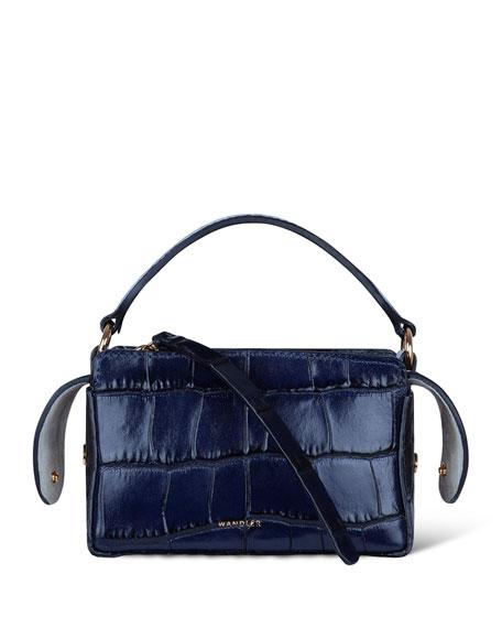 Yara Croc-Embossed Top Handle Bag