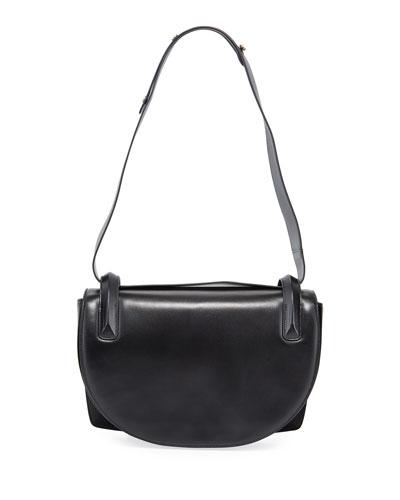 Flap Top Lamb Leather Shoulder Bag
