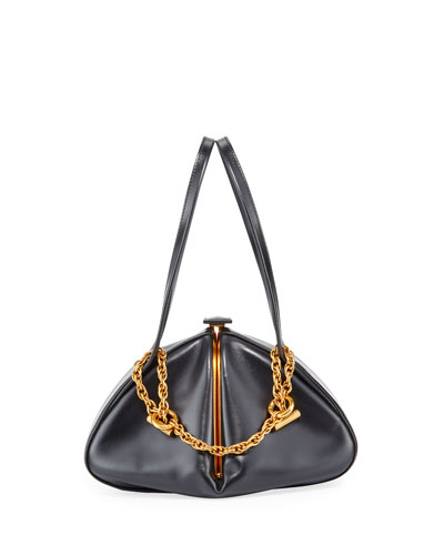 Framed Leather Chain Top Handle Bag