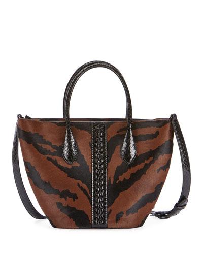 Latifa Mini Imp Poulain Zebra-Print Tote Bag