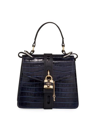 Aby Mini Crocodile-Embossed Top Handle Bag