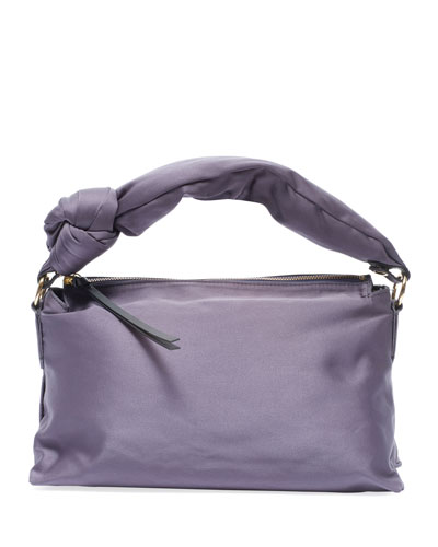 Satin Knot-Handle Shoulder Bag