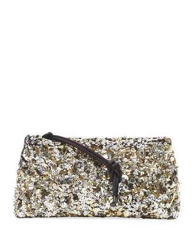 Sequin Zip-Top Clutch Bag