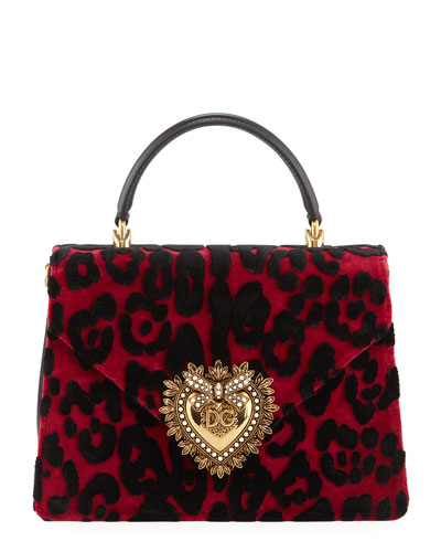 Welcome Velvet Leopard Top Handle Bag