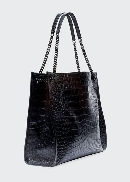 Niki Crocodile-Embossed Shoulder Bag