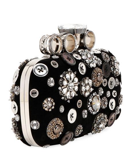 Allover Button-Embellished Clutch Bag