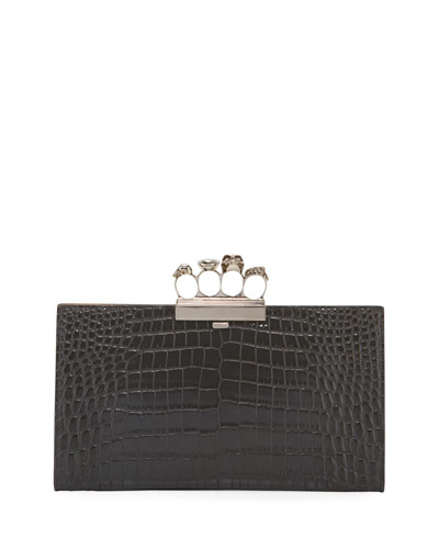 Skull Four-Ring Flat Pouch Clutch Bag