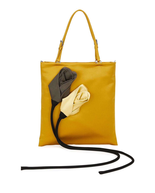 Satin Flower Tote Bag by Prada