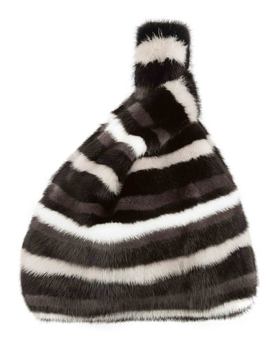 Mink Striped Furrissima Tote Bag
