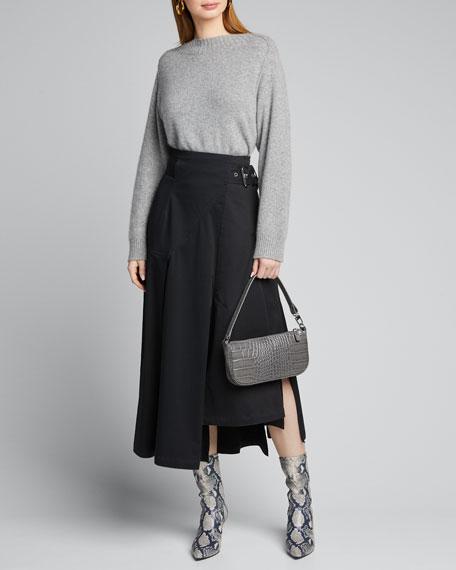 Rachel Small Croc-Embossed Shoulder Bag, Gray