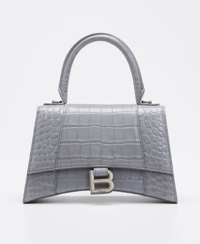 Hour Small Shiny Croc-Embossed Top-Handle Bag