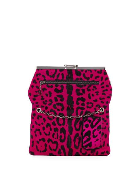 Leopard Calf Hair Clutch Bag