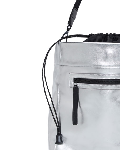 Swing Metallic Leather Drawstring Bucket Bag
