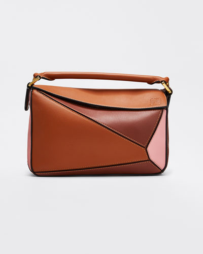 Puzzle Colorblock Leather Mini Satchel Bag
