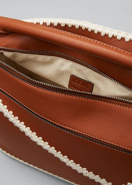 Puzzle Crochet Leather Satchel Bag