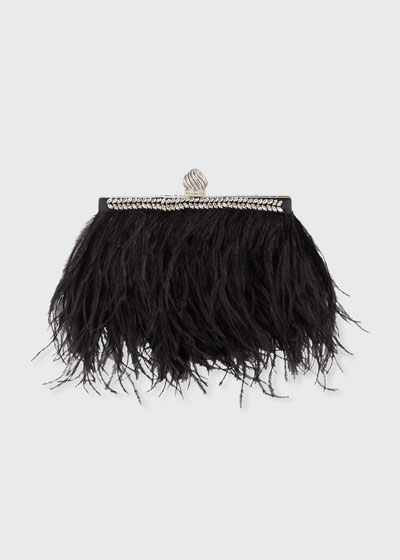 Celeste Ostrich Feather Clutch Bag