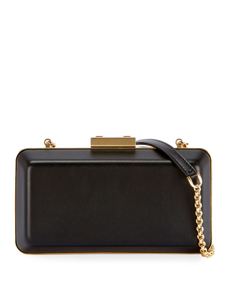 Evening Leather Minaudiere Clutch Bag