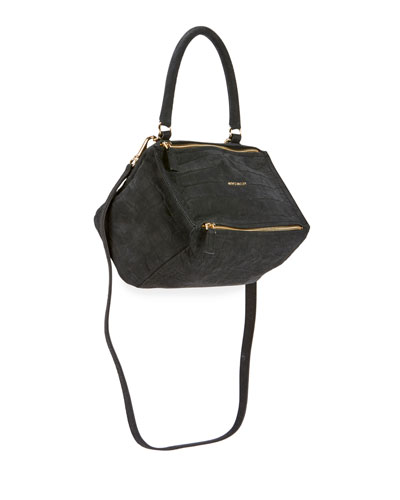 Pandora Small Mock-Croc Nubuck Satchel Bag