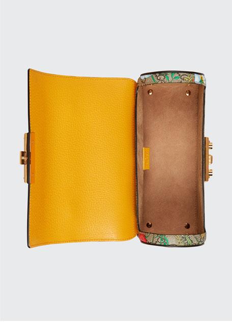 Padlock Small Flora GG Supreme Bamboo Top-Handle Shoulder Bag