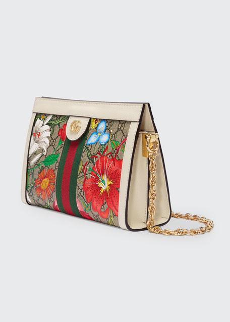 Ophidia Small GG Supreme Flora Shoulder Bag