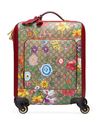 GG Supreme Flora Carry-On Trolley Suitcase Luggage