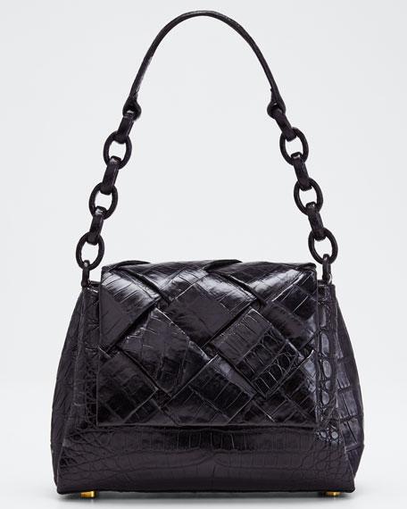 Woven Python Soft Flap Shoulder Bag