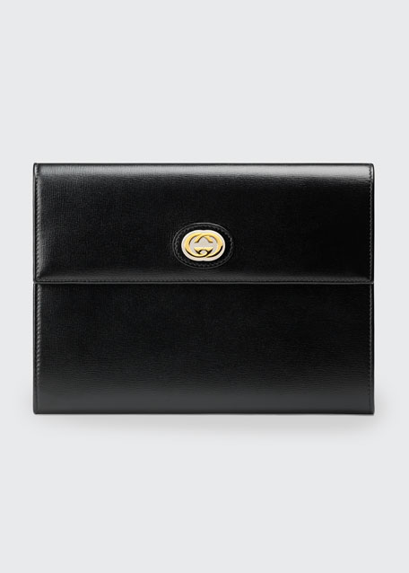Image 1 of 1: Marina Leather Flap Pouch Clutch Bag