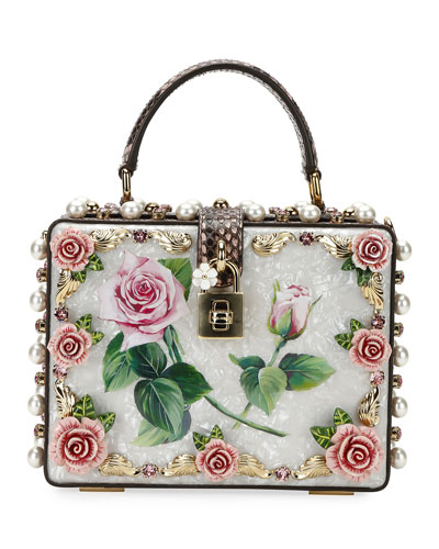 Dolce Box Tropical Rose PVC Top-Handle Bag