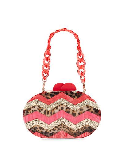 Girl's Mixed Leopard Zigzag Acrylic Oval Clutch Bag