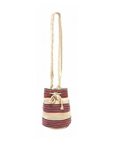 Striped Canvas Beach Bucket Bag