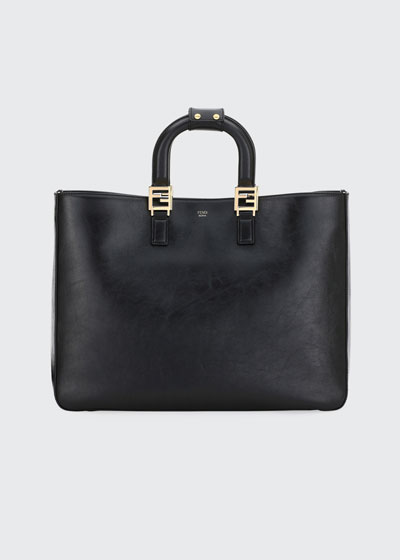 Glacier Large Calf Leather Shopping Tote Bag