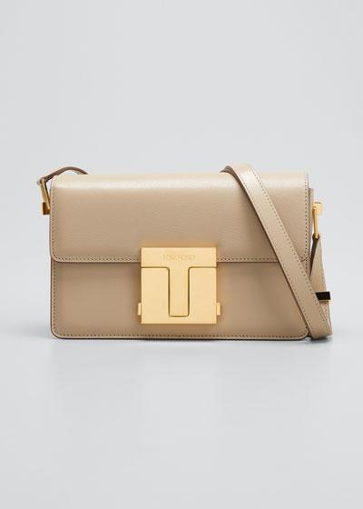 T-Clasp Shiny Leather Shoulder Bag